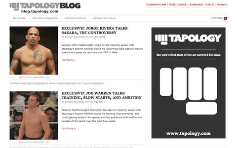 Screenshot of Blog tapology.com - Tapology Blog: Mixed Martial Arts Interviews & Analysis from Tapology.com - captured Sept. 23, 2014