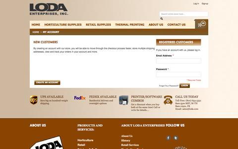 Screenshot of Signup Page Login Page loda.com - Loda Enterprises:  Customer Login - captured Oct. 23, 2014