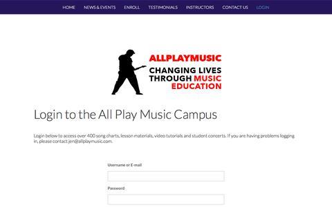 Screenshot of Login Page allplaymusic.com - Login - All Play Music - captured July 29, 2018