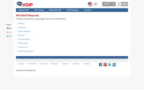 Screenshot of About Page Privacy Page Contact Page Site Map Page Terms Page whichvoip.com - Resources | WhichVoIP - captured July 1, 2017