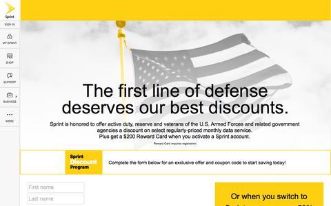 Screenshot of Landing Page sprint.com - Sprint Discount Program for DOD-Military - captured Aug. 30, 2016