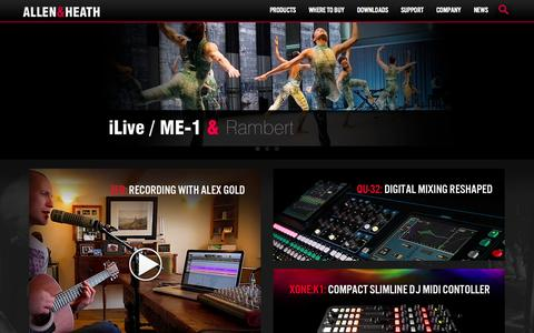 Screenshot of Home Page allen-heath.com - Allen & Heath - Professional audio mixing consoles - captured Sept. 25, 2014