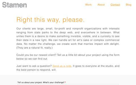 Screenshot of Contact Page stamen.com - Contact Us > Stamen Design - captured March 22, 2017