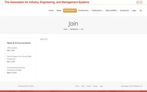 Screenshot of Signup Page aiems.org - AIEMS |   Join - captured Dec. 22, 2015