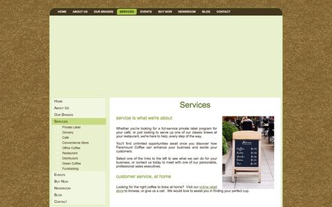 Screenshot of Services Page paramountcoffee.com - Services | Paramount Coffee - captured Oct. 1, 2014