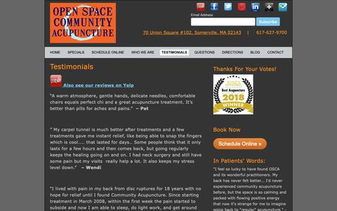 Screenshot of Testimonials Page openspaceacupuncture.com - Pain releif, improved energy and relief from allergies, insomnia and stress are some of the many benefits our patients report. We are two time winners of Best Acupuncture in Somerville. Book online to see how acupuncture can help you! - captured Nov. 16, 2018