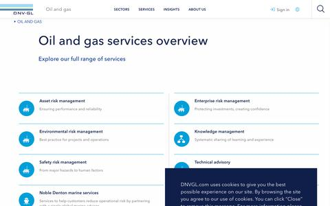 Screenshot of Services Page dnvgl.com - Services provided by DNV GL to the oil and gas sector - DNV GL - captured June 4, 2019