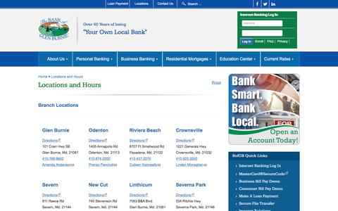 Screenshot of Locations Page thebankofglenburnie.com - The Bank of Glen Burnie | Checking & Savings Accounts in Glen Burnie - captured Sept. 20, 2018