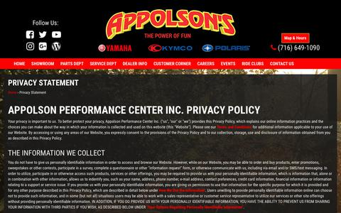 Screenshot of Privacy Page appolson.com - Appolson Performance Center Inc. | Privacy Statement - captured Oct. 8, 2017