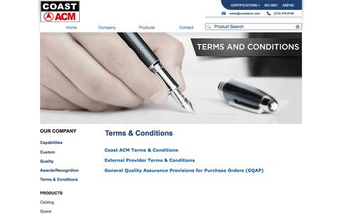 Screenshot of Terms Page coastacm.com - Coast/ACM | Terms & Conditions - captured Oct. 7, 2017