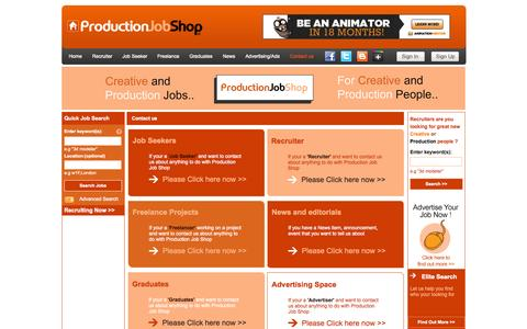 Screenshot of Contact Page productionjobshop.com - Contact ProductionJobShop | Contact Us - captured Oct. 3, 2014