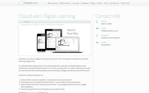 Screenshot of Trial Page cloudlearn.co.uk - CloudPort Digital Learning Environment - captured Sept. 29, 2014