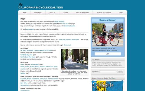 Screenshot of Maps & Directions Page calbike.org - California Bicycle Coalition » Maps - captured Oct. 1, 2014