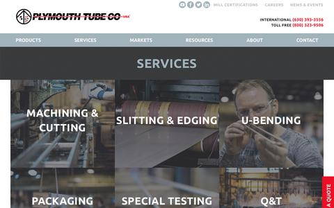 Screenshot of Services Page plymouth.com - Services - Plymouth Tube - captured Aug. 12, 2017
