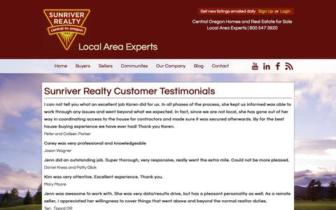 Screenshot of Testimonials Page sunriverrealty.com - Sunriver Realty Customer Testimonials - captured Jan. 20, 2016
