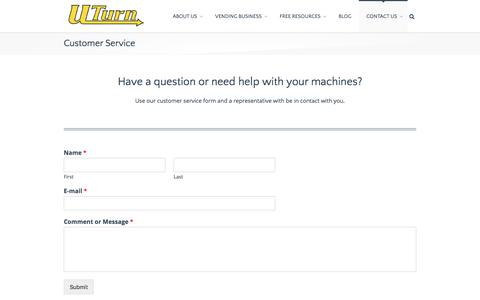 Screenshot of Support Page uturnvending.com - Customer Service | UTurn Vending | Bulk Candy Vending Machine Business Opportunity - captured July 24, 2018