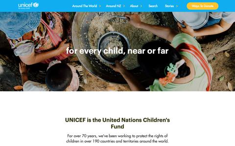 Screenshot of About Page unicef.org.nz - About UNICEF - captured Oct. 1, 2018