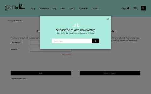 Screenshot of Login Page paolita.co.uk - Customer Login - captured May 14, 2017