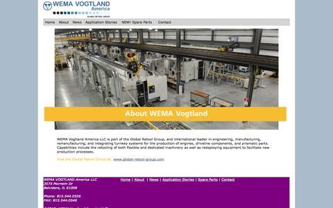 Screenshot of About Page wema-vogtland.us - Wema-Vogtland America - About - captured Oct. 7, 2014