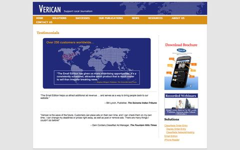 Screenshot of Testimonials Page verican.com - Testimonials « Verican - captured Sept. 17, 2014