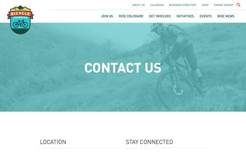 Screenshot of Contact Page bicyclecolorado.org - Contact Us - Bicycle Colorado - captured June 1, 2017