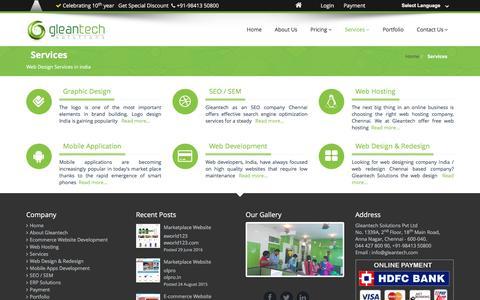 Screenshot of Services Page gleantech.com - Web Design & Development Services company chennai, India - captured Jan. 3, 2017