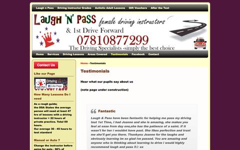 Screenshot of Testimonials Page laughnpass.co.uk - Testimonials | - captured July 19, 2017