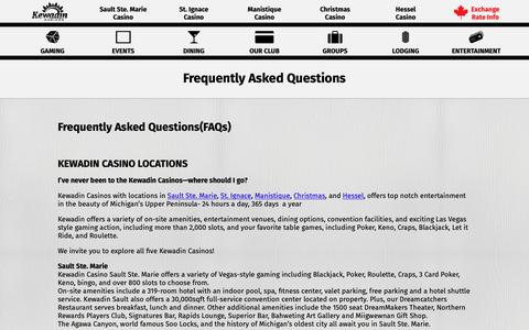 Screenshot of FAQ Page kewadin.com - Frequently Asked Questions - Kewadin Casinos - captured Oct. 15, 2018