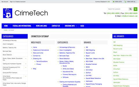 Screenshot of Site Map Page crimetech.net - CrimeTech Sitemap - captured Oct. 3, 2014