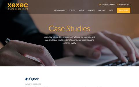 Screenshot of Case Studies Page xexec.com - Our Employee Benefits & Customer Engagement Case Studies - captured June 17, 2017