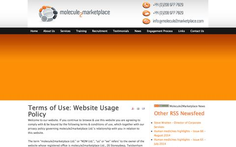 Screenshot of Terms Page molecule2marketplace.com - Terms of Use: Website Usage Policy - captured Sept. 30, 2014