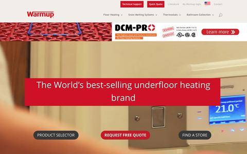 Screenshot of Home Page warmup.com - Electric Floor Heating Systems | Underfloor Insulation | Warmup - captured Oct. 18, 2018