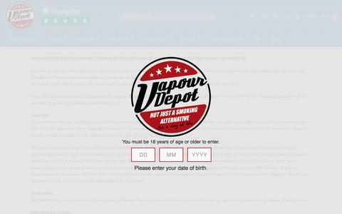 Screenshot of Terms Page vapourdepot.com - Vapour Depot Limited - Terms and Conditions of Sale - captured Aug. 27, 2018