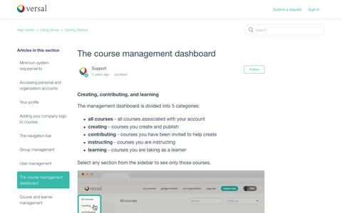 Screenshot of Support Page versal.com - The course management dashboard – Help center - captured Dec. 3, 2019
