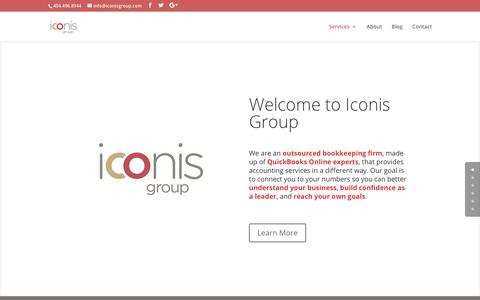 Screenshot of Home Page iconisgroup.com - Iconis Group - QuickBooks Online Experts providing outsourced bookkeeping and virtual CFO services in Atlanta, GA - captured Oct. 14, 2017