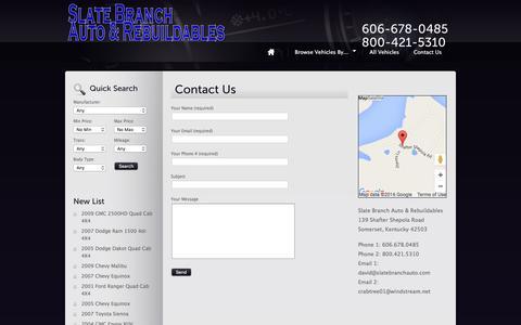 Screenshot of Contact Page slatebranchauto.com - Contact Us - Slate Branch Auto & Rebuildables - captured June 24, 2016