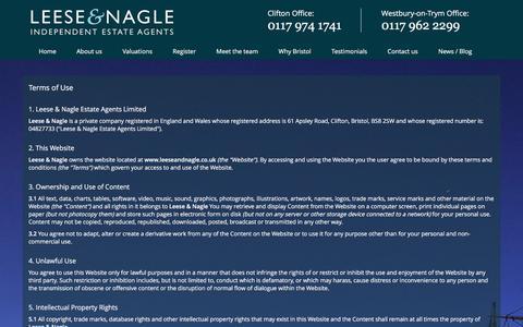 Screenshot of Terms Page leeseandnagle.co.uk - Terms of Use | Leese & Nagle - captured Jan. 27, 2016