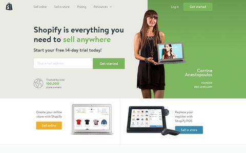 Screenshot of Home Page shopify.com - Ecommerce Software, Online Store Builder, POS - Free 14-day Trial by Shopify - captured July 11, 2014