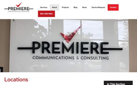 Screenshot of Locations Page premiere-inc.com - Locations | Premiere Communications & Consulting - captured Nov. 11, 2018