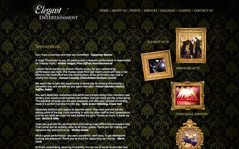 Screenshot of Testimonials Page elegant-entertainment.com - Testimonials :: Elegant entertainment - captured Sept. 29, 2014