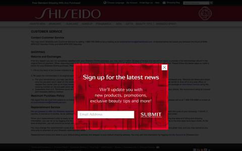 Screenshot of Support Page shiseido.com - Customer Service - captured Feb. 14, 2016