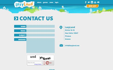 Screenshot of Contact Page lazyland.net - Contact Us - lazyland.net - captured Oct. 31, 2014