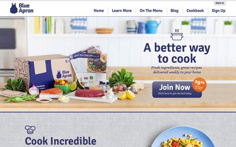 Screenshot of Home Page blueapron.com - Blue Apron: Fresh Ingredients, Original Recipes, Delivered to You - captured Sept. 13, 2014