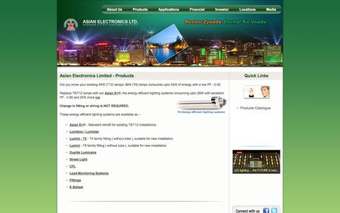 Screenshot of Products Page aelgroup.com - Asian Electronics Limited - captured Oct. 4, 2014