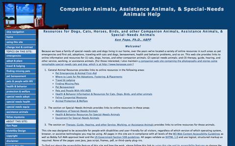 Screenshot of Home Page catanddoghelp.com - Companion Animals, Assistance Animals, & Special-Needs Animals Help - captured Aug. 31, 2015