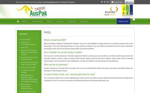 Screenshot of FAQ Page auspak.edu.pk - FAQs « AusPak International - captured Oct. 4, 2014