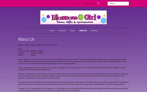 Screenshot of About Page blossomgirl.com - About Us – Blossom Girl - captured Oct. 10, 2014