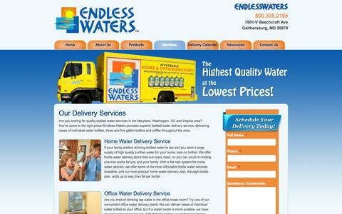 Screenshot of Services Page endlesswaters.com - Water Delivery Services | Home & Office Water Delivery | Maryland (MD), Washington, DC & Virginia (VA) | Endless Waters - captured Oct. 2, 2014