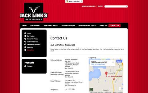 Screenshot of Contact Page jacklinks.co.nz - Contact Us - captured Oct. 6, 2014