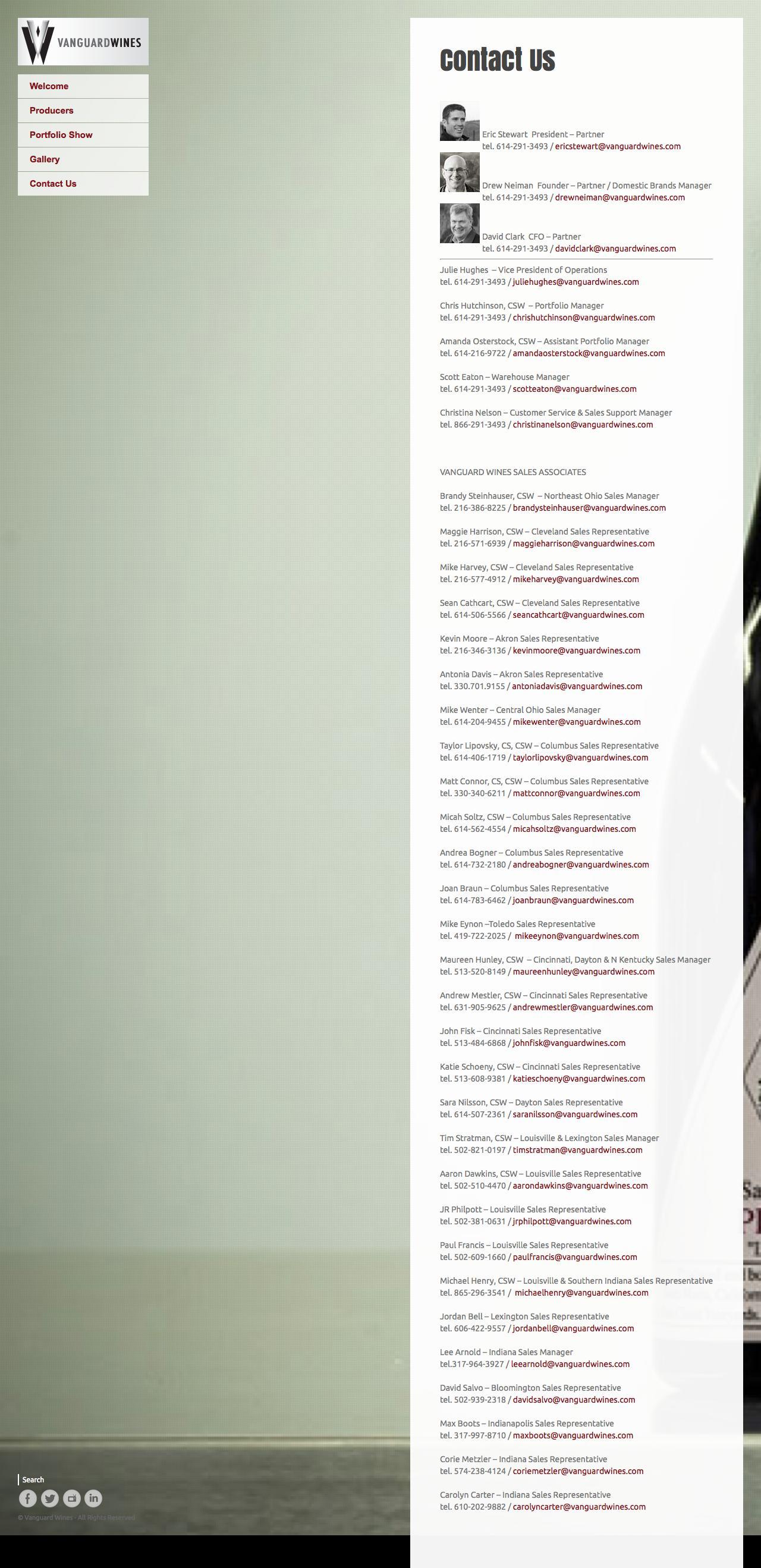 Web Design Example | A page on vanguardwines.com | Crayon